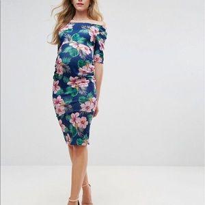 Blue tropical maternity dress
